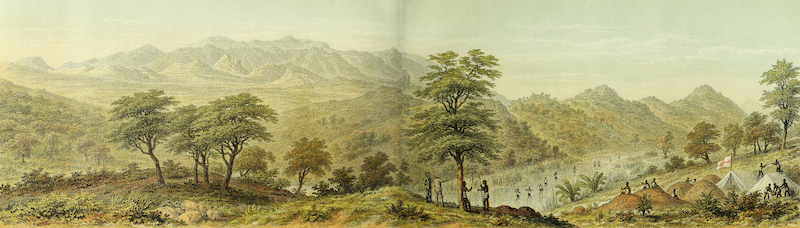 Sketches of African Scenery - Panoramic View from the C.M.S Camp, Mkundi River, Usagara, Looking West (1878)