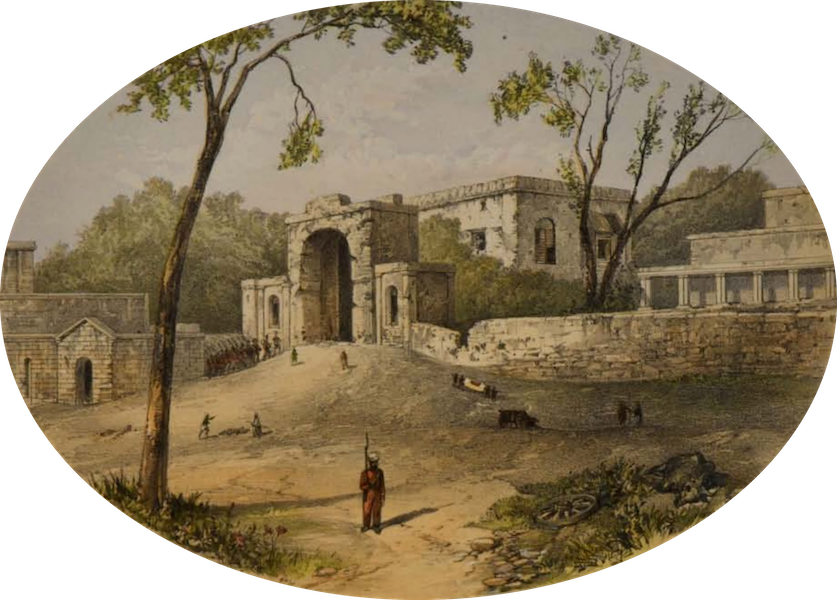 Sketches and Incidents of the Siege of Lucknow - The Baillie Guard Grateway, from the Nobut Khana (1857)