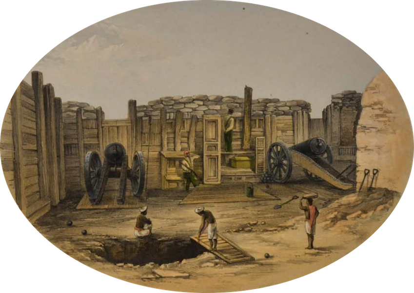 Sketches and Incidents of the Siege of Lucknow - The new Cawnpore Battery (1857)