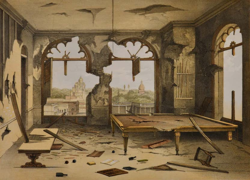 Sketches and Incidents of the Siege of Lucknow - Interior of the Residency Billiard-room (1857)