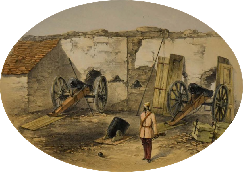 Sketches and Incidents of the Siege of Lucknow - The Seik Yard Battery (1857)