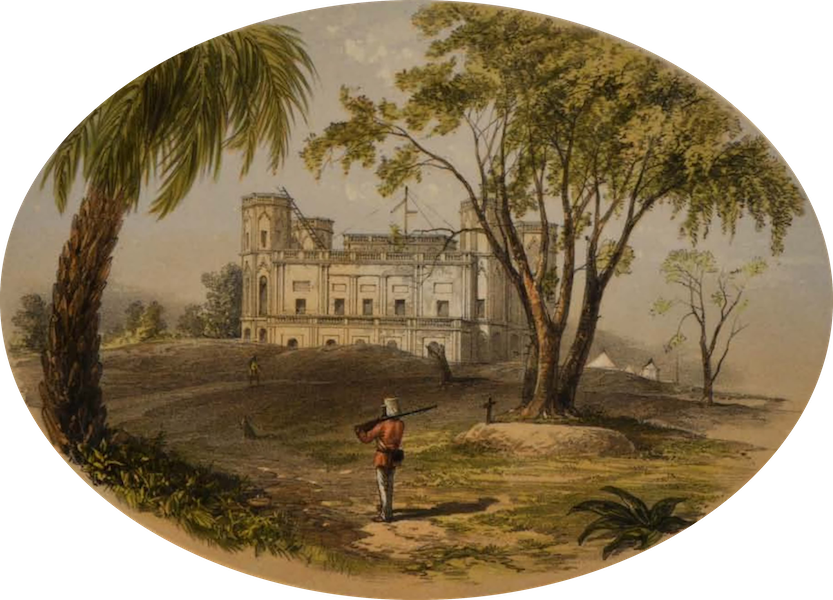 Sketches and Incidents of the Siege of Lucknow - Havelock's Grave, and the Allum Bagh Picket-house (1857)
