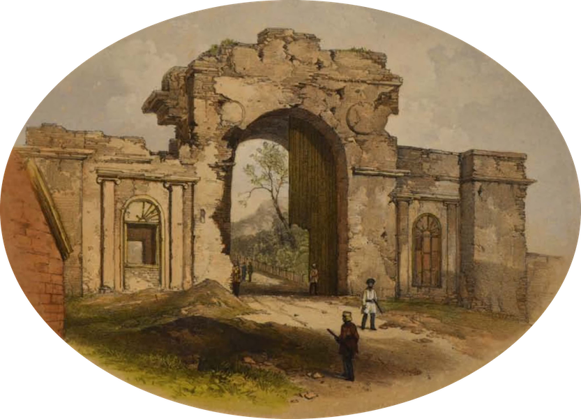 Sketches and Incidents of the Siege of Lucknow - The Baillie Guard Gateway (1857)