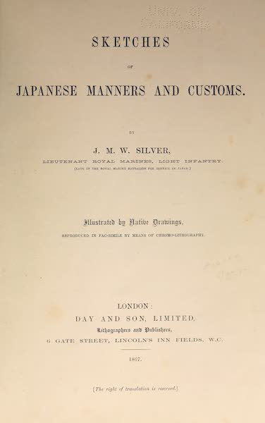Sketches of Japanese Manners and Customs - Title Page (1867)