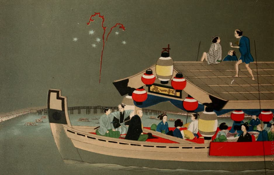 Sketches of Japanese Manners and Customs - A Daimio and Family Witnessing Fireworks (1867)
