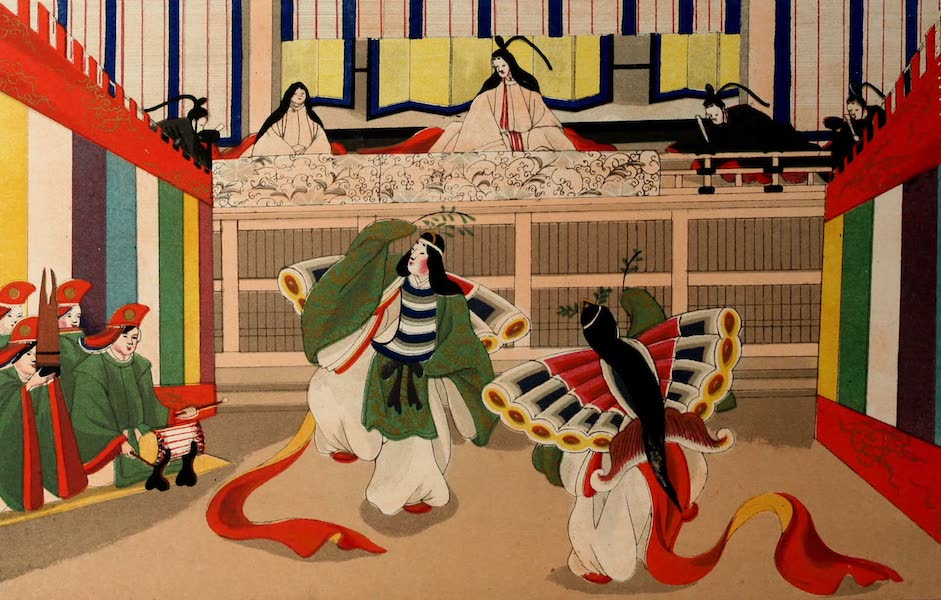 Sketches of Japanese Manners and Customs - Ladies of the Mikado's Court performing the Butterfly Dance (1867)