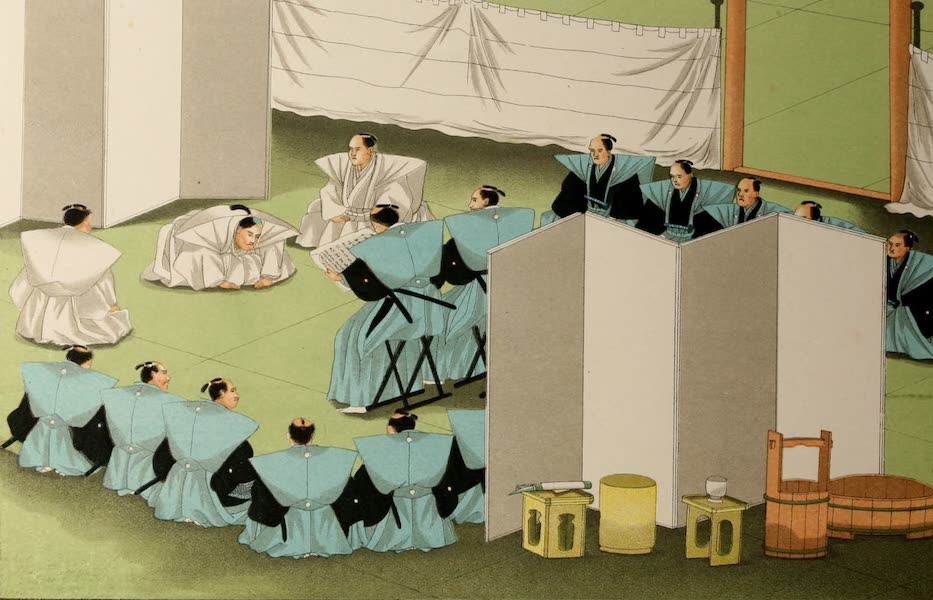Sketches of Japanese Manners and Customs - The Tycoon's Messengers Reading the Sentence (1867)