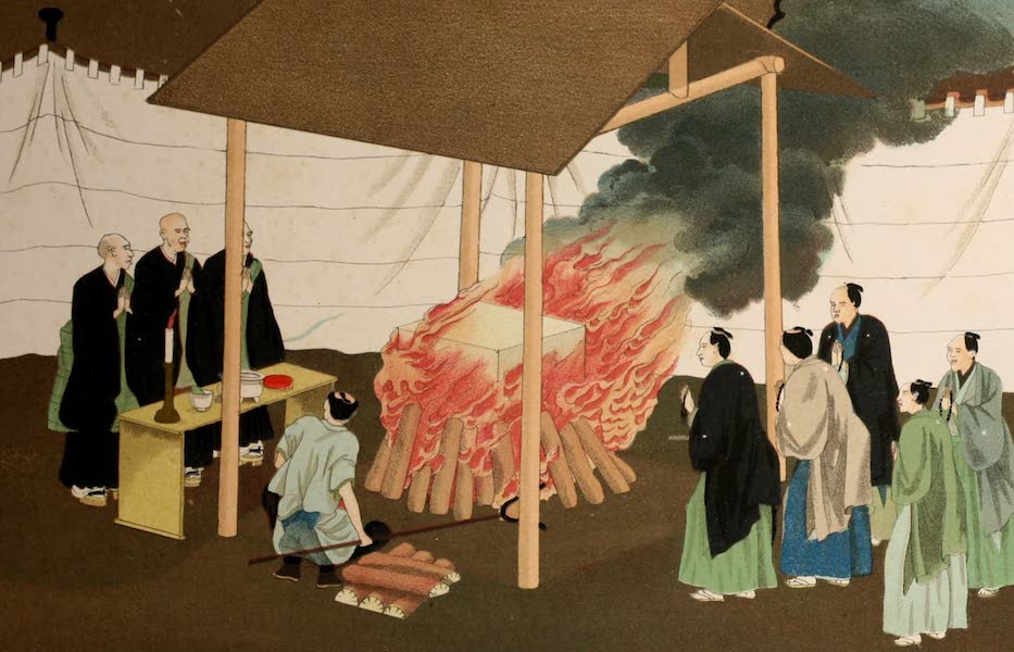 Sketches of Japanese Manners and Customs - Cremation of the Body (1867)