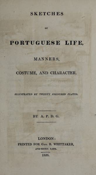 Sketches of Portuguese Life - Title Page (1826)