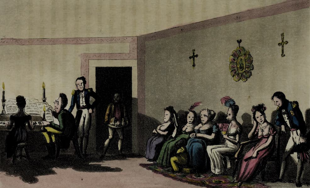 Sketches of Portuguese Life - Party at Rio de Janeiro. A castrate singing (1826)