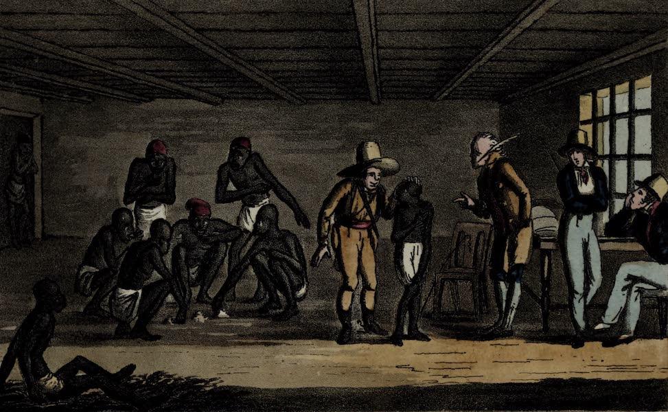 Sketches of Portuguese Life - Slave shop at Rio Minas. Merchant bargaining (1826)