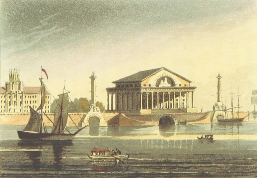 Sketches of Russia - View of the New Exchange in St. Petersburg (1814)