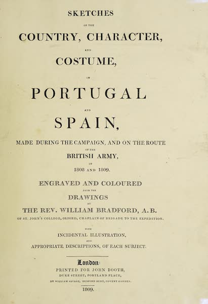 Sketches of Portugal and Spain - Title Page (1809)