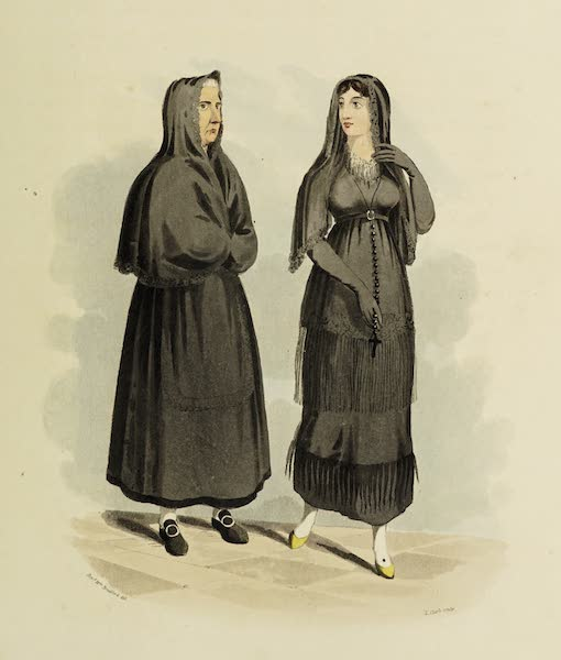 Sketches of Portugal and Spain - A Spanish lady with her attendant going to mass (1809)