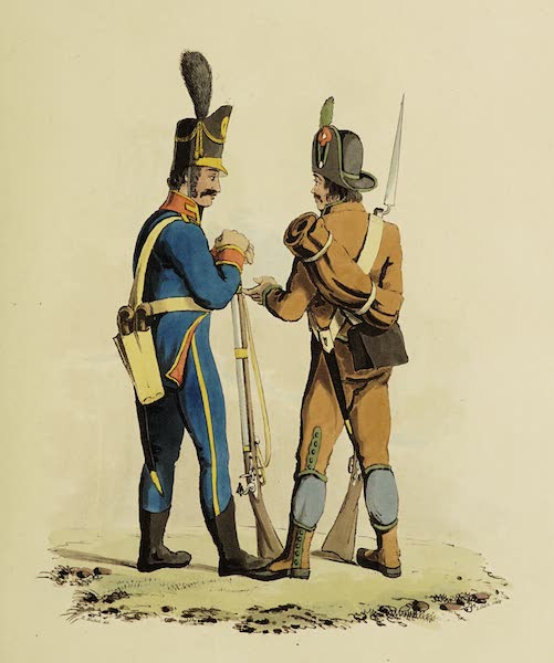Sketches of Portugal and Spain - Lisbon Police Guard and Armed Peasant of Algarva (1809)