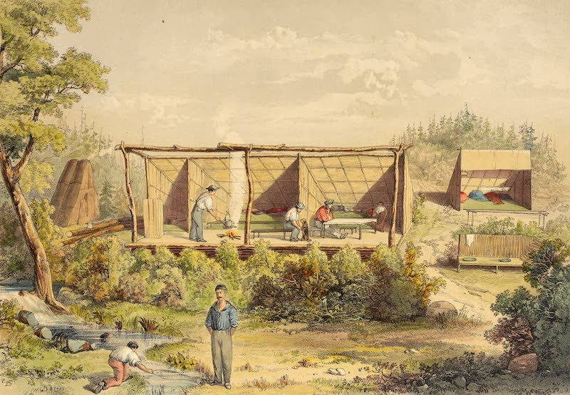 Sketches on the Nipisaguit - The Camp, Grand Falls (1860)