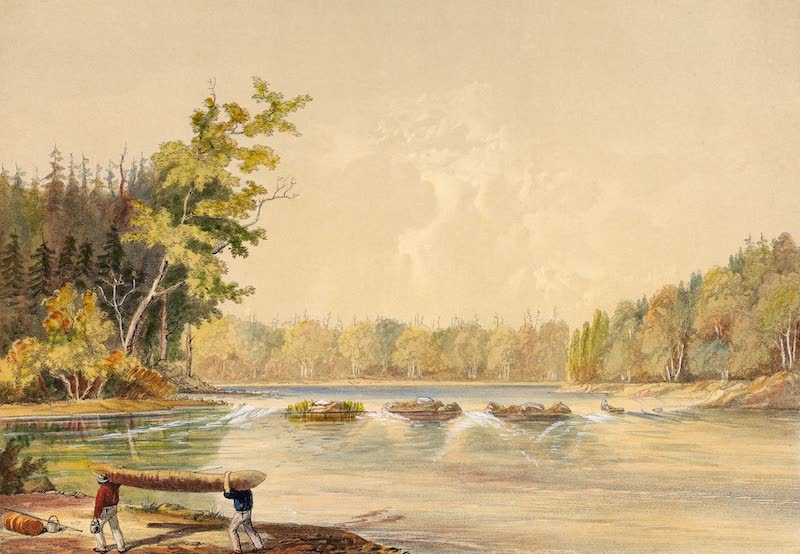 Sketches on the Nipisaguit - Portage Below the Little Falls (1860)