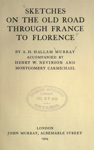 Sketches on the Old Road Through France to Florence - Title Page (1904)