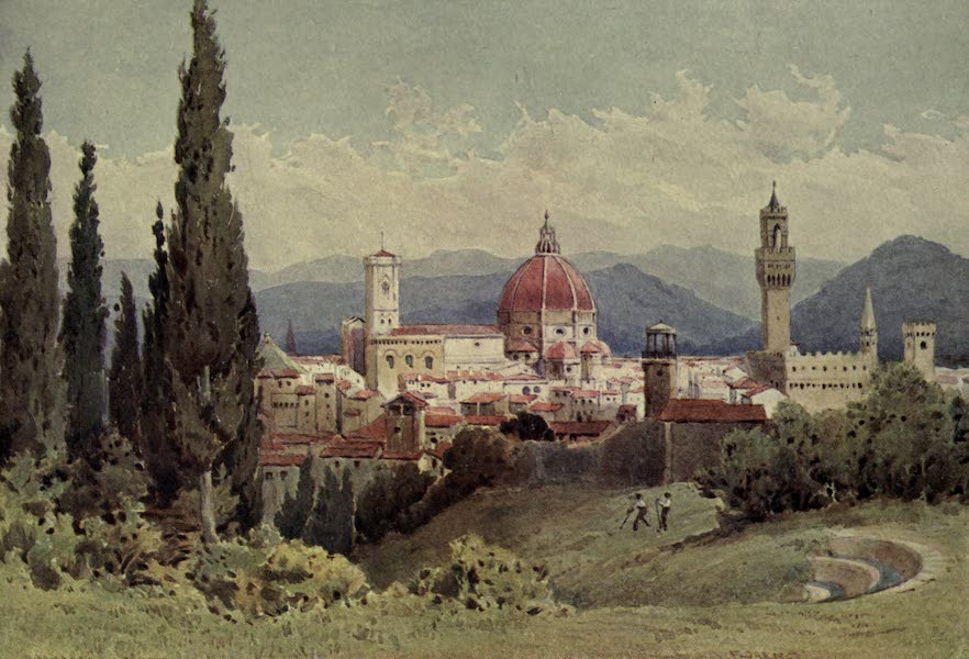 Sketches on the Old Road Through France to Florence - Florence from the Boboli Gardens, Looking Towards Fiesole (1904)