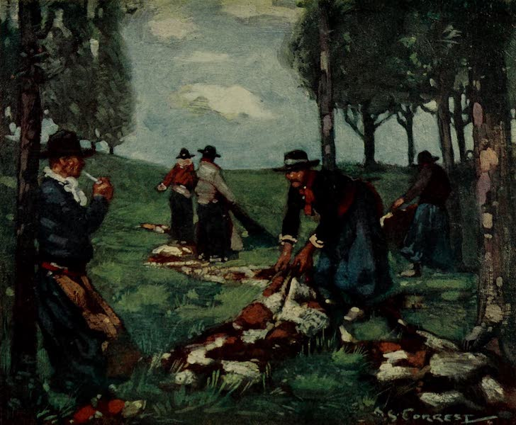 South America, Painted and Described - Guachos Spreading Hides in Argentina (1912)