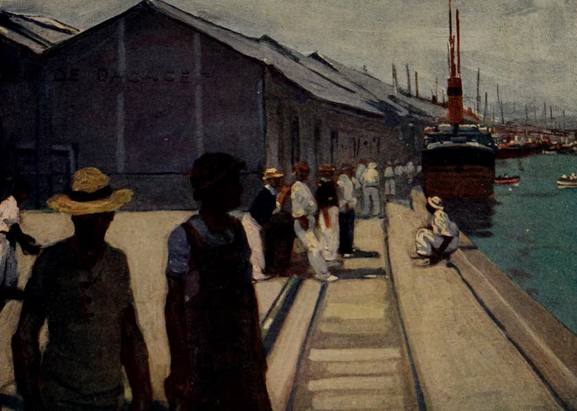 South America, Painted and Described - The Docks at Santos (1912)