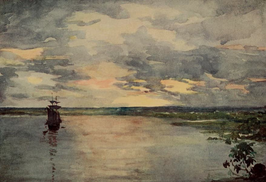 South America, Painted and Described - Sunset on the Paraguay River (1912)