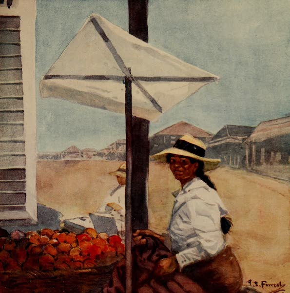 South America, Painted and Described - A Fruit Stall in Mollendo, Peru (1912)