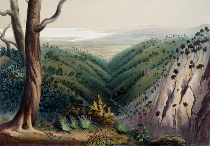 South Australia Illustrated - View from Mount Lofty, looking over the Plains of Adelaide The Port and T Vincent's Gulf in the distance (1847)