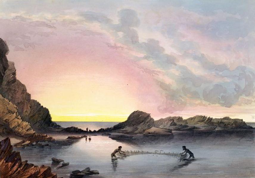South Australia Illustrated - Coast Scene near Rapid Bay Sunset Natives fishing with nets (1847)