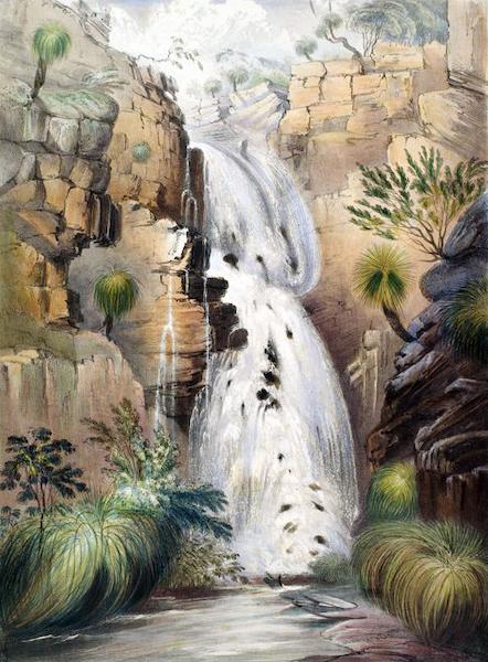 South Australia Illustrated - Lower Falls of Glen Stuart, on the Moriatia Rivulet, in the hills, near Adelaide (1847)