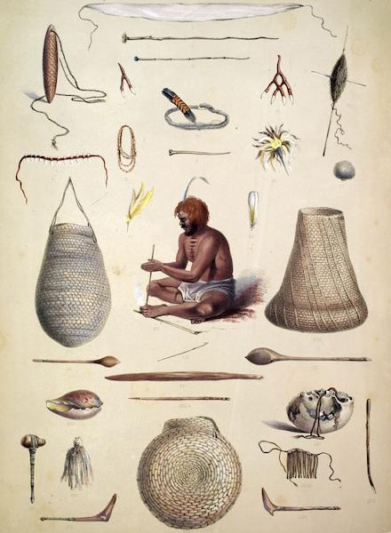 South Australia Illustrated - The Aboriginal Inhabitants Ornaments and Utensils (1847)