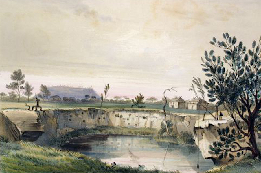 South Australia Illustrated - Messrs Arthur's Sheep Station, with one of he volcanic wells Mount Schank in the distance Early Morning (1847)