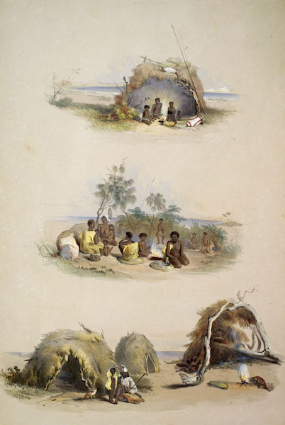 South Australia Illustrated - The Aboriginal Inhabitants Native Dwellings (1847)