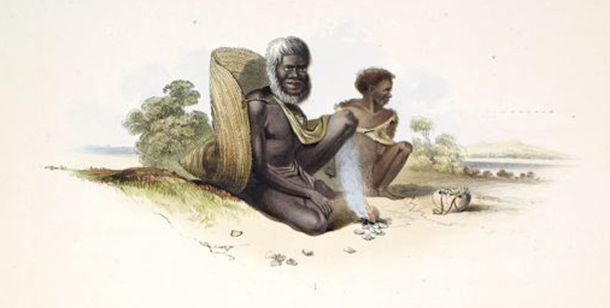 South Australia Illustrated - The Aboriginal Inhabitants An Old Man and Girl on the Coorung (1847)