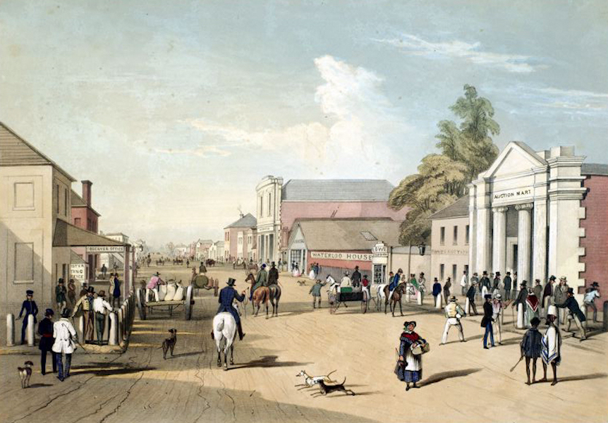 South Australia Illustrated - Adelaide Hindley Street from the corner of King William Street; looking west (1847)