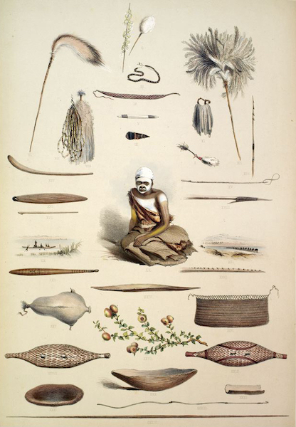 South Australia Illustrated - The Aboriginal Inhabitants: Native Implements and Domestic Economy (1847)