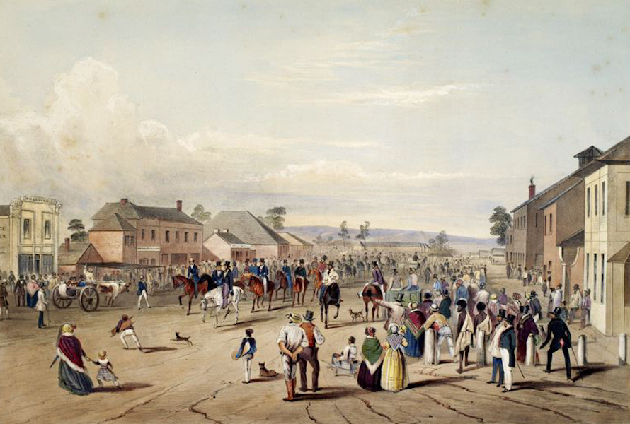 South Australia Illustrated - The Departure of Captain Sturt on his expedition into the interior, august, 1844 (1847)