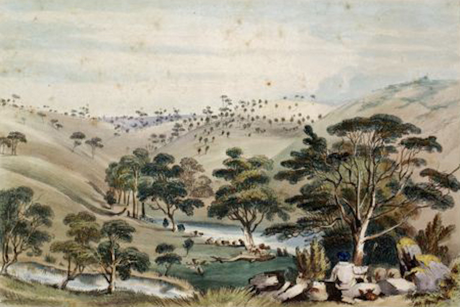 South Australia Illustrated - North Bend of the River Gawler (1847)