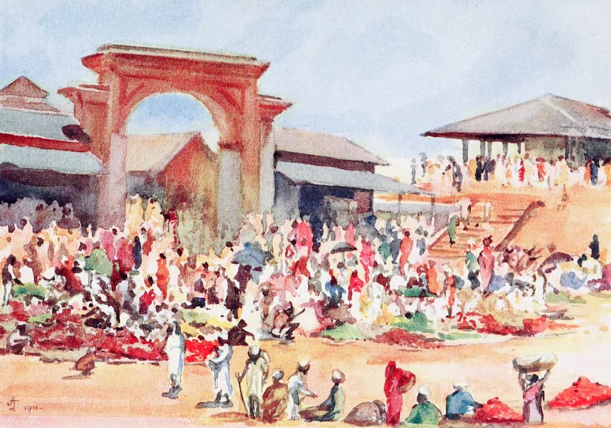 Southern India, Painted and Described - The Vegetable Market at Ootacamund (1914)