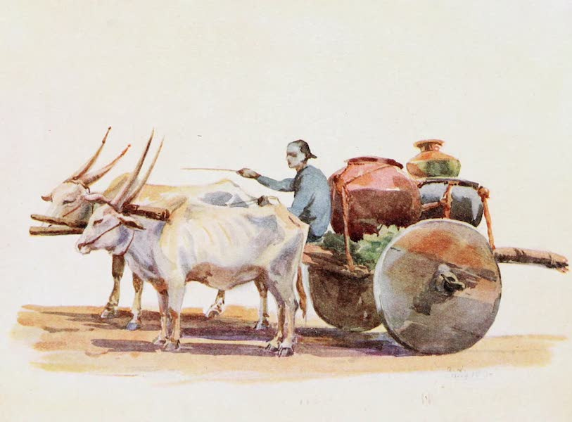 Southern India, Painted and Described - A Primitive Water-Cart of Mysore (1914)