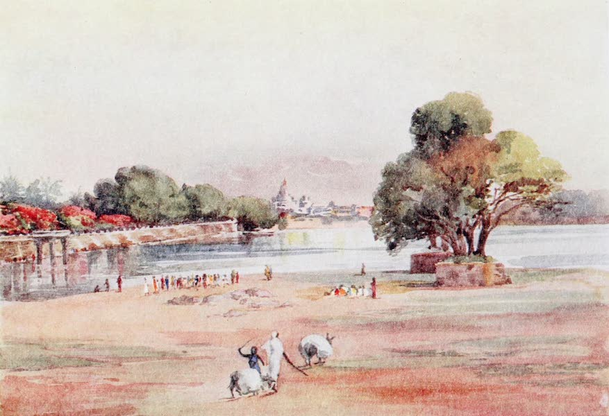 Southern India, Painted and Described - A Tank in Mysore with the Maharajah's Palace in the distance (1914)