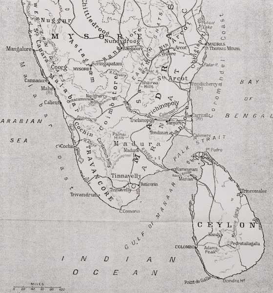 Southern India, Painted and Described - Sketch Map of Southern India (1914)