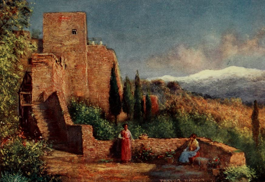 Southern Spain, Painted and Described - Granada - Sierra Nevada from the Alhambra Gardens (1908)