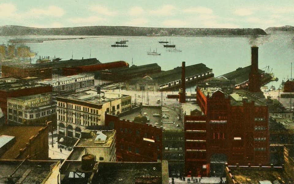 Souvenir Album of Seattle, Washington - Section of Seattle Harbor, Seattle (1900)