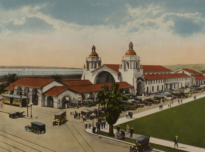 Souvenir from San Diego and Vicinity California - Santa Fe Depot (1915)