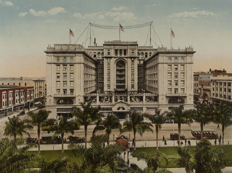 Souvenir from San Diego and Vicinity California - U.S. Grant Hotel, facing Plaza Park (1915)