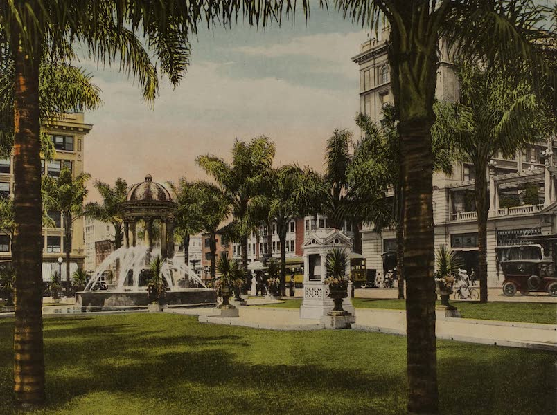 Souvenir from San Diego and Vicinity California - Plaza Park, showing L.J. Wilde Electric Fountain (1915)