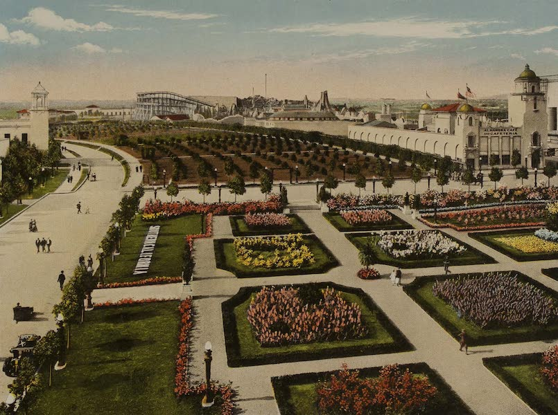 Souvenir from San Diego and Vicinity California - Formal Gardens and Citrus Grove from Southern Countries Building (1915)