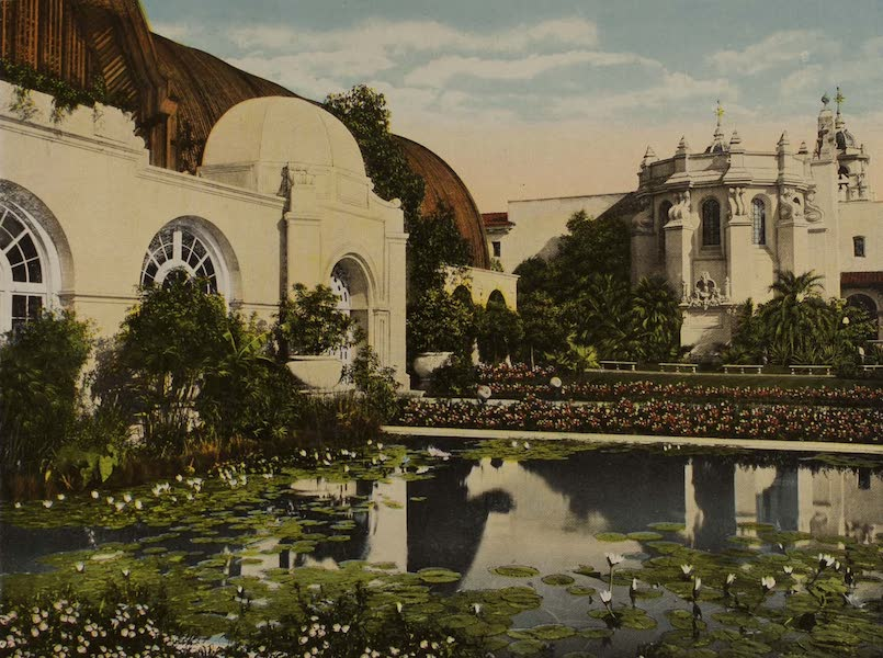 Souvenir from San Diego and Vicinity California - Foreign and Domestic Industries Building from Botanical Gardens (1915)