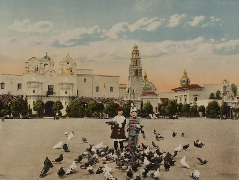 Souvenir from San Diego and Vicinity California - Feeding the Pigeons (1915)